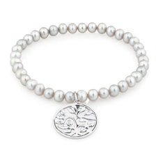 """19cm (7.5"""") Elastic Bracelet with Sterling Silver Tree of Life in Grey Cultured Freshwater Pearl"""
