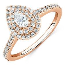 Michael Hill Designer GrandArpeggio Engagement Ring with 0.87 Carat TW of Diamonds in 14ct Rose Gold