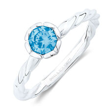 December Stacker Ring with Blue Cubic Zirconia in Sterling Silver
