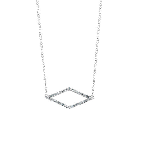 Geometric Necklace with 1/10 Carat TW of Diamonds in Sterling Silver