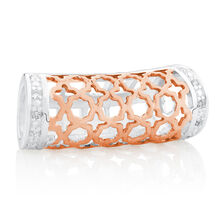 Wild Hearts Art Deco Sleeve with Cubic Zirconia in 10ct Rose Gold & Sterling Silver