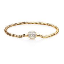 "17cm (7"") Charm Bracelet with 0.53 Carat TW of Diamonds in 10ct Yellow Gold"