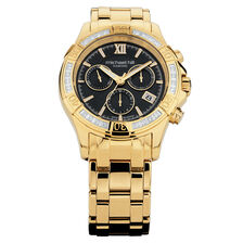 Men's Chronograph Watch with Diamonds in Gold Tone Stainless Steel