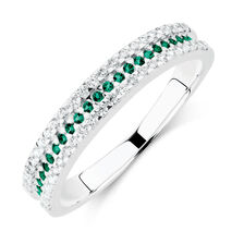 Ring with Green & White Cubic Zirconia in Sterling Silver
