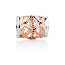 Wild Hearts Heart Patterned Mini Barrel Charm in 10ct Rose Gold & Sterling Silver