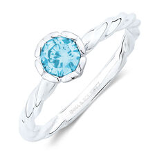 March Stacker Ring with Aqua Cubic Zirconia in Sterling Silver