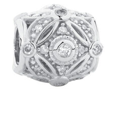 Art Deco Charm with Cubic Zirconia in Sterling Silver