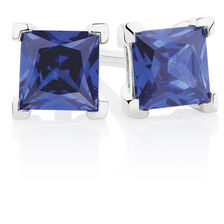Stud Earrings with Tanzanite Cubic Zirconia in Sterling Silver