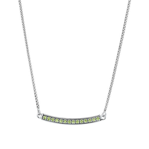Adjustable Bar Necklace with Green Cubic Zirconia in Sterling Silver