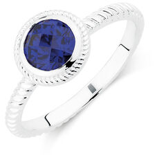 Patterned Blue Cubic Zirconia Stack Ring