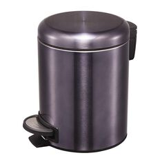 Living & Co Stainless Steel Slow Close Pedal Bin Black 5L