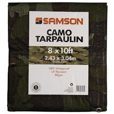 Samson Tarpaulin Finished Size Green Camo 80gsm 8ft x 10ft