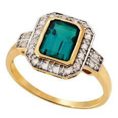 9ct Gold Diamond Synthetic Emerald Ring