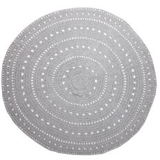 Living & Co Rug Valencia Cotton Crochet Round Light Grey 1.5 Metre