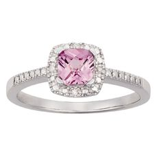 Sterling Silver Diamond Cushion Cut Synthetic Pink Sapphire Ring