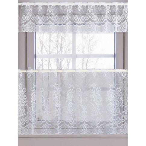 Necessities Brand Net Cafe Curtain Cindy White 90cm x 200cm Drop