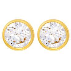 9ct Gold CZ Bezel Earrings 6mm