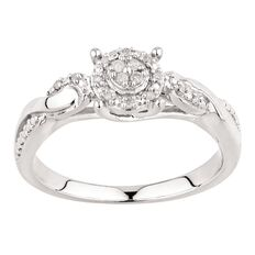 1/10 Carat of Diamonds Sterling Silver Cluster Ring