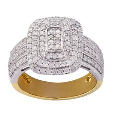 1 Carat of Diamonds 9ct Gold Diamond Square Ring