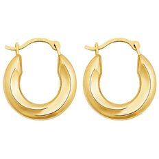 9ct Gold Round Large Plain Hoop Earrings