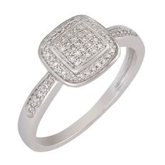 0.15 Carat of Diamonds 9ct Gold Square Fancy Diamond Ring