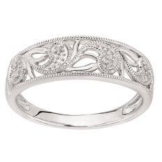 Sterling Silver Diamond Filigree Wave Ring