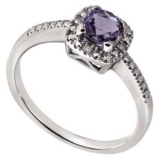 Sterling Silver Diamond and Amethyst Cushion Cut Ring