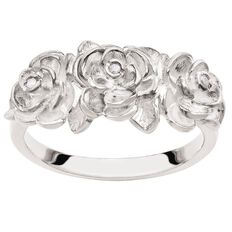Sterling Silver Diamond Fancy Flower Ring