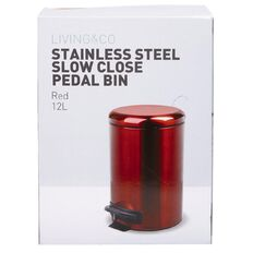 Living & Co Stainless Steel Slow Close Pedal Bin Red 12L