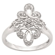 Sterling Silver Diamond Art Deco Ring