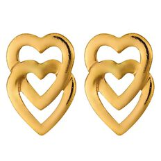 9ct Gold Double Heart Stud Earrings