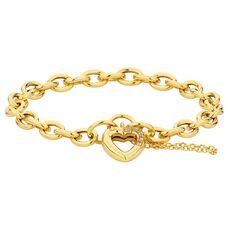 9ct Gold Heart Charm Hollow Bracelet 19cm