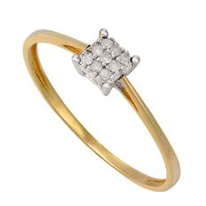 9ct Gold Diamond Square Cluster Ring