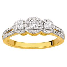 1/2 Carat of Diamonds 9ct Gold 3 Stone Halo Ring