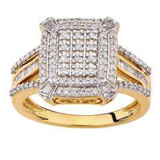 1/2 Carat of Diamonds 9ct Gold Diamond Large Square Ring