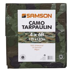 Samson Tarpaulin Finished Size Green Camo 80gsm 4ft x 6ft