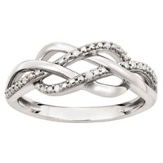 Sterling Silver Diamond Twist Ring