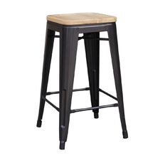 Reside Metal Stool with Wood Top 66cm Charcoal