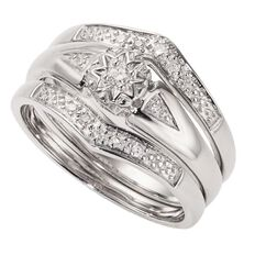 Sterling Silver Diamond Trio Set Ring