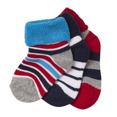 H&H Infants Boys' Terry Bootie Socks 3 Pack