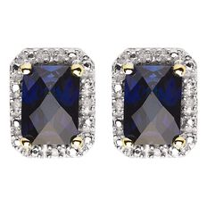 9ct Gold Diamond Synthetic Sapphire Square Halo Earrings