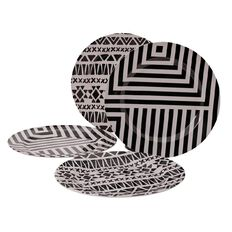 Living & Co Outdoor Dinner Plate Melamine Black/White 4 Piece