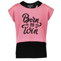 Active Intent Girls' 2-in-1 Drop Hem Top