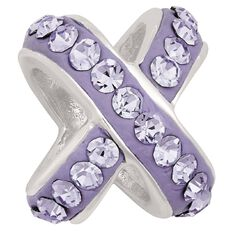 Ane Si Dora Sterling Silver Cross Over Purple Crystal Charm