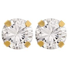 9ct Gold 4 Claw CZ Stud Earrings 5mm