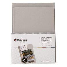 Rosie's Studio Silver Pearlised Metallic Cards and Envelopes 6 Pack
