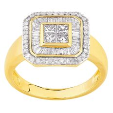 1 Carat of Diamonds 9ct Gold Princess Taper Ring