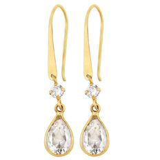9ct Gold CZ Pear Shepherd Hook Earrings