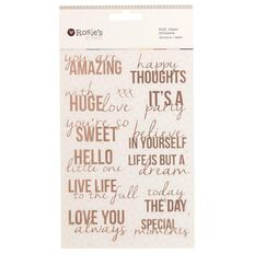 Rosie's Studio Foil Clear Stickers Phrases Stacked