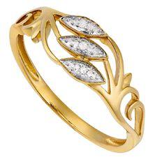 9ct Gold Diamond Scroll Ring